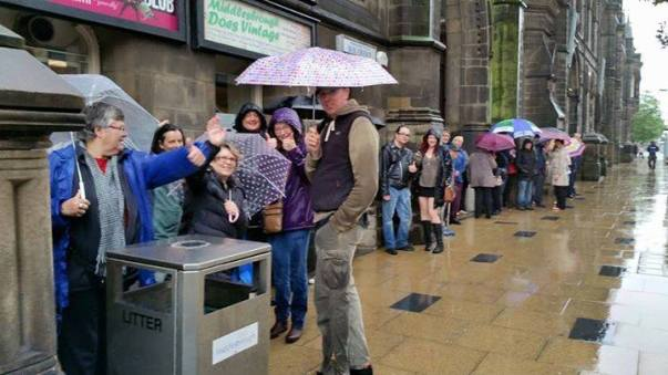 Queuing in the rain outside Middlesbrough Town Hall for Corbyn rally 18 Aug